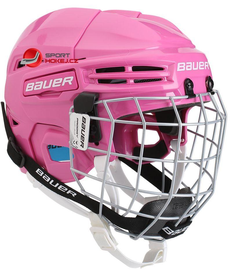 Hokejová helma BAUER Prodigy Combo Youth růžová  682778f199