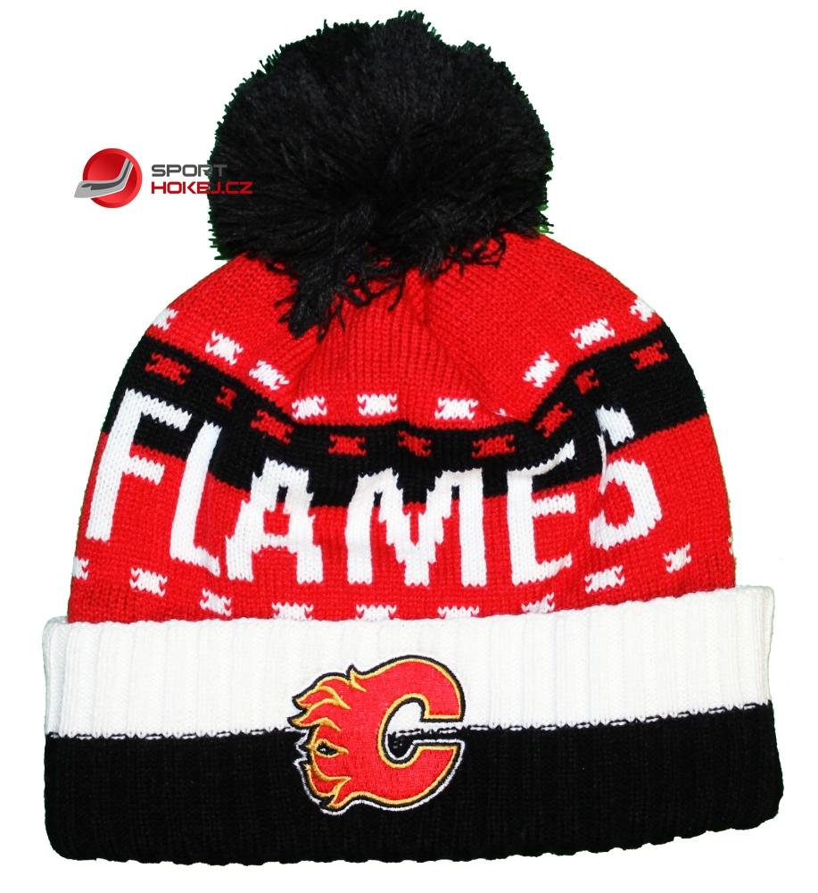 Zimní čepice kulich REEBOK NHL Team Name Cuff Pom Calgary Flames ... 9f511b5382