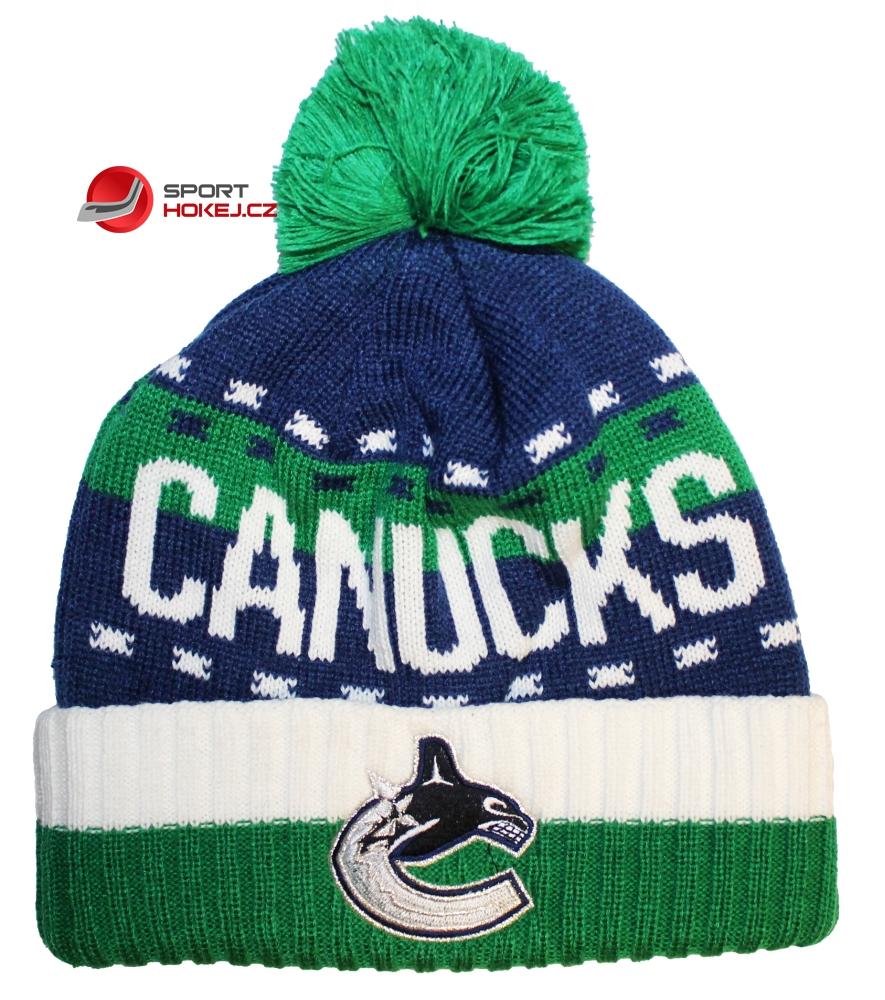 Zimní čepice kulich REEBOK NHL Team Name Cuff Pom Vancouver Canucks ... 16b1f77901