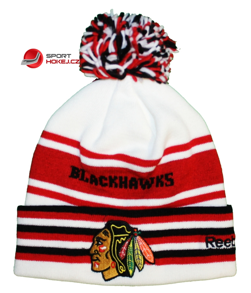 Zimní čepice kulich REEBOK NHL Cuff Pom Knit Chicago Blackhawks ... 5e3345062a