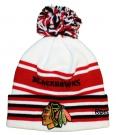 Zimní čepice kulich REEBOK NHL Cuff Pom Knit Chicago Blackhawks